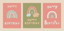 A Set Of Birthday Cards In The Scandinavian Style