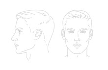 Vector Set Of Man Face Portrait Three Different Angles And Turns Of A Male Head. Close-up Line Sketch. Different View Front, Profile, Three-quarter Of A Boy.