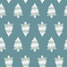 Winter Seamless Pattern With Christmas Tree In Pastel Colors. Background For Textile, Fabric, Wallpaper, Wrapping Paper, Scrapbook And Packaging.