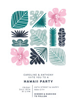 Hawaii Style Summer Party Invitation Design. Tropical Leaves And Flowers.