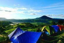 Mountain Viewpoint Khao Kho District Phetchabun Thailand. Most Popular Tourists Go Camping.