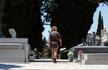 Unknown Woman Looking For The Grave Of A Relative Between Two Rows Of Graves