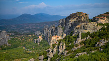 Meteora Rock Spires, With Several Monasteries In View.
