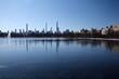 Midtown Manhattan below the iconic reservoir in winter in New York City