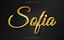 Editable 3d Gold Text Effect. Fancy Font Style Perfect For Logotype, Title Or Heading Text.