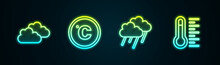 Set Line Cloud, Celsius, With Rain And Meteorology Thermometer. Glowing Neon Icon. Vector