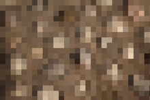 Abstract Modern Leopard Pixel Texture. Animals Trendy Background. Brown Shapes Formed From Merged Small Squares For Print, Card, Postcard, Fabric, Textile. Modern Ornament Of Stylized Skin