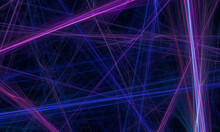 3d Laser Net Or Grid Created By Dynamic Blue Violet Purple Light Beams In Deep Dark Space. Technological Creative And Artistic Concept. Great As Banner, Cover, As Card Or Certificate Decoration.