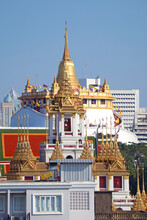 Amazing View Of Phu Khao Thong (Golden Mount) With The Top Of Loha Prasat (Iron Castle) In Foreground, Bangkok, Thailand