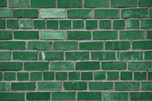 Green Brick Wall Texture. Green Painted Horizontal Part Of Brick Wall Textured Surface.