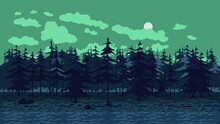 Pixel Art Background With Forest For Games And Mobile Applications. Seamless When Docking Horizontally. Halloween Background In Pixel Art, 8 Bit, 16 Bit