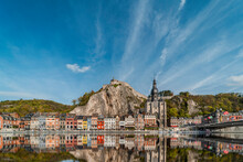 Reflection Of The Old Town Dinant During Autumn. City Landscape In Belgium