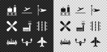 Set Airport Conveyor Belt With Suitcase, Plane Takeoff, Cone Meteorology Windsock Wind Vane, Luggage Towing Truck, Aircraft Steering Helm, Propeller And Control Tower Icon. Vector