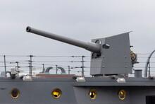 An Artillery Gun At The Stern Of The Baltic Fleet Cruiser