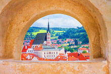 Summer Cityscape - View From The Cesky Krumlov Castle To The Old Town Of Cesky Krumlov And Its Surroundings, Czech Republic