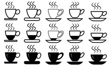 Coffee Cup Icon Set. Coffee Tea Cup Symbol. Empty, Full And Half Cup Vector For Design.