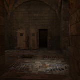3d-illustration of an dungeon jail for background usage