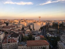 High Angle View Of Jerusalem Against Sky At Sunset