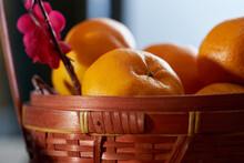 Close Up Mandarin Oranges And The Plum Blossom