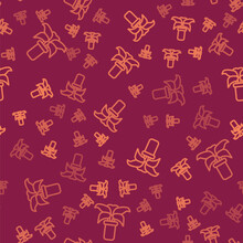 Brown Line Exotic Tropical Plant In Pot Icon Isolated Seamless Pattern On Red Background. Vector