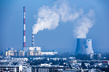 The Smoking Chimneys Of The Heat And Power Plant In Krakow