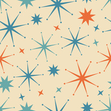 1950s Star Seamless Vector Pattern. 50s Style Retro, Vintage, Mid-century Modern With Teal, Orange And Blue Starburst Illustration Elements On Neutral Cream Background. Repeat Wallpaper Texture Art