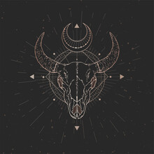 Vector Illustration With Hand Drawn Bull Skull And Sacred Geometric Symbol On Black Vintage Background. Abstract Mystic Sign.