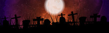 Halloween Night Cemetery With Full Moon Abstract Background. Vector Banner Design