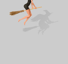 Halloween Witch Riding Broomstick. Minimal Holiday Celebration Horror Concept. Bright Autumn Season Background.