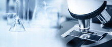 Microscope In Medical Science Lab White Blue Banner Background