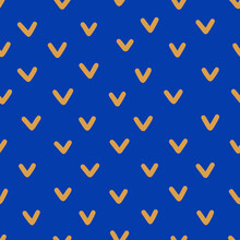 Check Mark Hand Drawn Seamless Pattern. Vector Background Of The Letter V In Contemporary Style