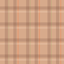 Plaid Seamless Pattern In Brown, Orange, Beige. Herringbone Seamless Check Plaid For Flannel Shirt, Skirt, Bag, Or Other Modern Autumn Winter Fashion Textile And Fabric Print. Vector.