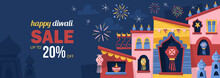 Diwali Hindu Festival Concept With India Town Decorated For Holiday. Greeting Card, Banner Or Poster Template Design