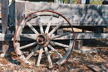 Closeup Of Vintage Wooden Wagon Wheel