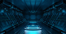 Blue Spaceship Interior With Projector. Futuristic Corridor In Space Station With Glowing Neon Lights Background. 3d Rendering