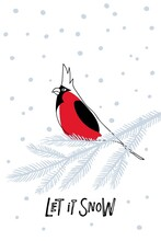 Christmas Greeting Card With Northern Cardinal Bird On Spruce Branch And Inscription Let It Snow. Hand Drawn Letterimg, Linear Red Bird With Crested. Vector New Year, Christmas, Winter Symbol.