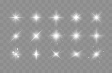 Set Of Shining Sparkles And Lens Flares. Glowing Lights Isolated On Transparent Background. Vector Illustration