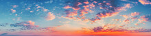 Panorama Evening Sky With Blue, White And Orange Clouds