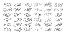 Set Of Different Hand Drawn Flourish Swirl Ornate Decoration Elements. Decorative Black Ink Pen Curled Lines Collection