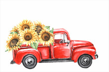 Watercolor Red Truck With Sunflowers Isolated On White Background.