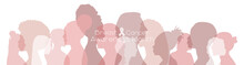 Breast Cancer Awareness Month Concept. Women Of Different Ethnicities Stand Side By Side Together. Flat Vector Illustration.