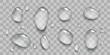 Set of realistic transparent water drops.