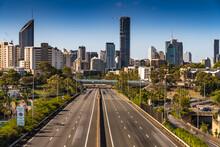 Brisbane City, Queensland Australia Downtown Region Freeway Highway Lights Streaks Cars Vehicle Headed To City