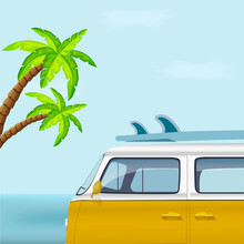 Bus With Surfboard On Background Of Palm Trees. Vector Illustration.