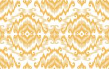 Ikat Ethnic Pattern. Aztec Fabric Carpet Mandala Ornament Boho Chevron Textile Decoration Wallpaper. Tribal Turkey Indian African American Traditional Embroidery Vector Illustrations Background.