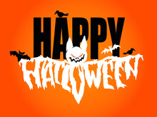 Happy Halloween - Cute Hand Drawn Doodle Lettering Label. Halloween Party - Trick Or Treat. Lettering Art For Poster, Web, Banner, T-shirt Design.