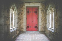 Church Door In Red