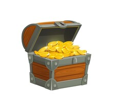 Cartoon Pirate Treasure Chest With Golden Coins. Open Wooden Chest Box Decorated With Forgery Full Of Sparkling Gold Pieces Isolated On White. Fantasy Case Game Or Mobile Application Ui Element