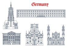 Germany Architecture, Munich Buildings And Travel Landmarks Of Bavaria, Vector. Theatine Church Of St Cajetan Trinity Church And Saint Bartholomew Cathedral, Bavarian State Library And Preysing Palace