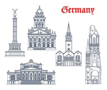 Germany Architecture And Landmark Buildings Of Berlin, Vector Icons. German Church Of Saint Matthew Or St Matthaus Kirche, Victory Triumph Column, French Cahtedral Franzosischer Dom Of Friedrichstadt